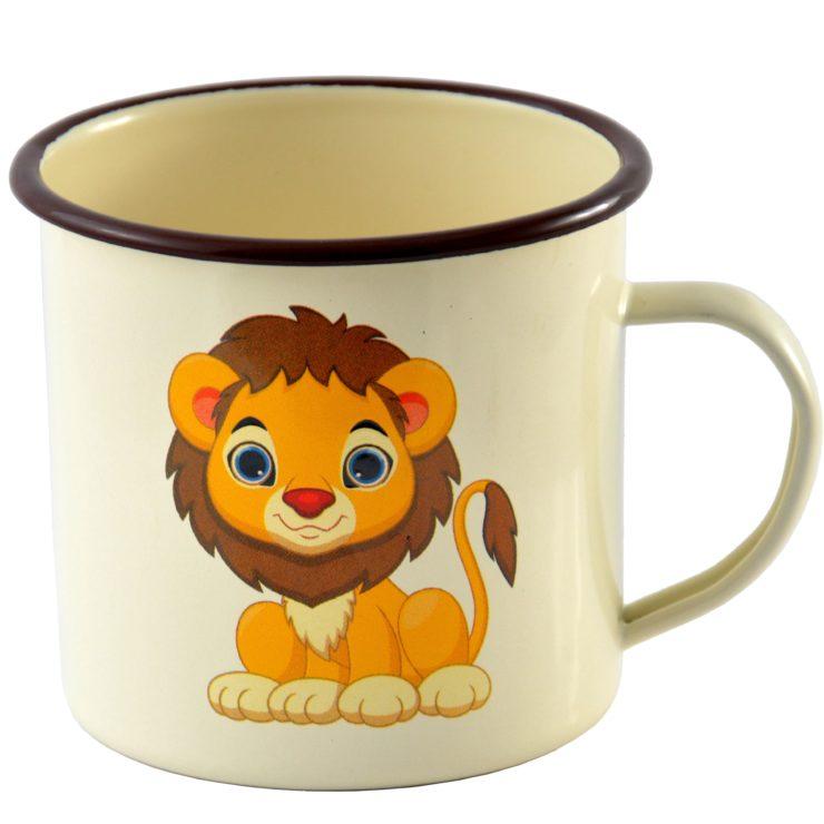 kubek emaliowany lew